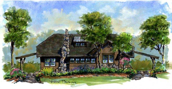 Watercolor Rendering | Green Home | WNC