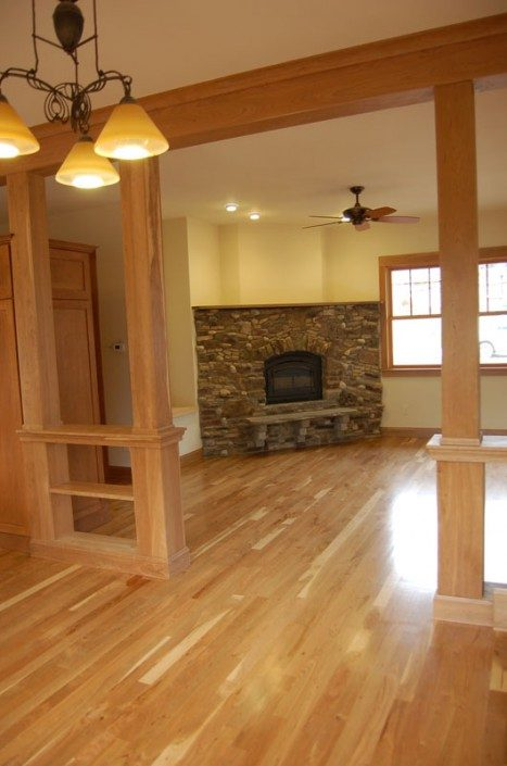 Living Room | Stone Fireplace | Green Built